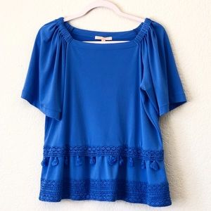GIBSON LATIMER Blue Off Shoulders Top, Small Size
